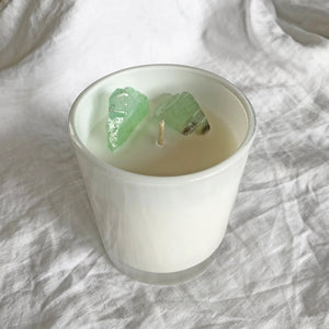 Green Calcite crystal candle 2
