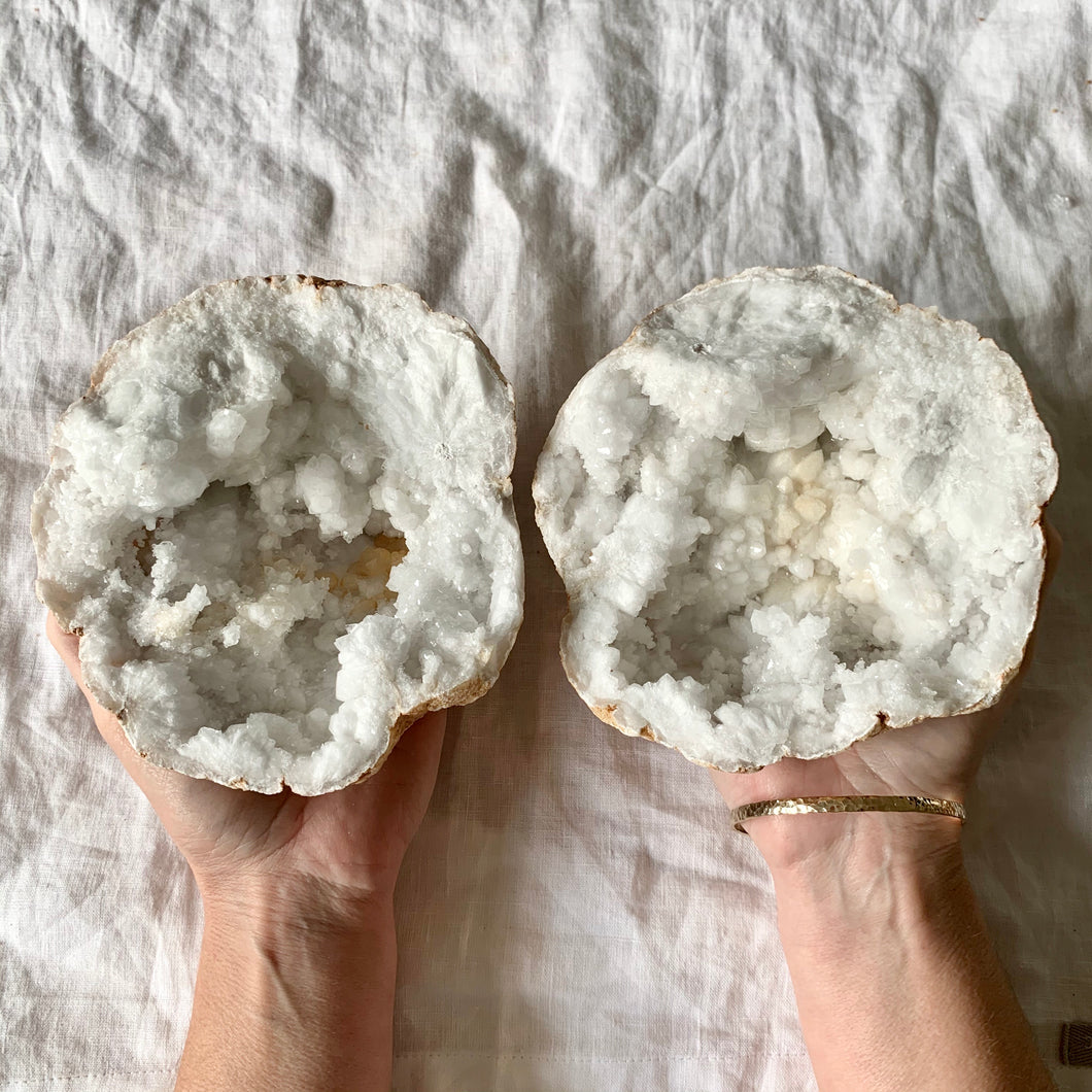 CLEAR QUARTZ GEODE LARGE PAIR 1