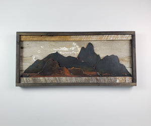 "Rustic Metal Art ""Mountain Scene"""