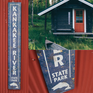 Rustic Kankakee River State Park Sign
