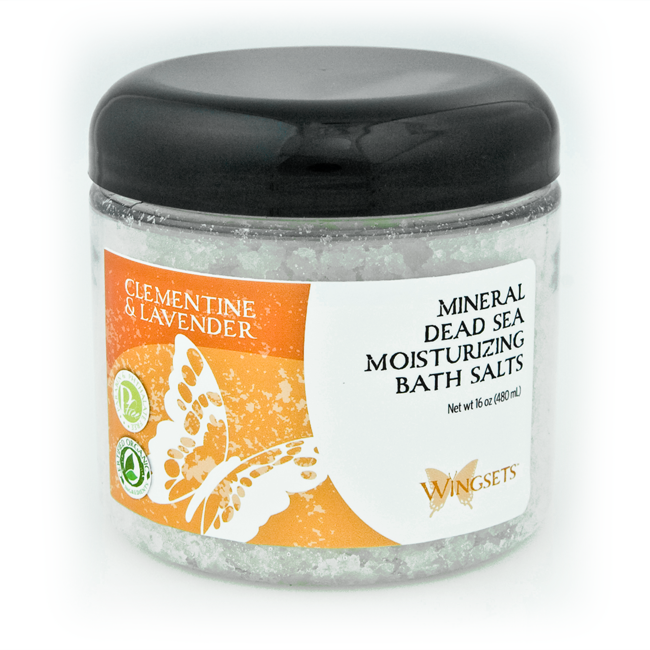 clementine and Bulgarian lavender essential oils in dead sea bath salts