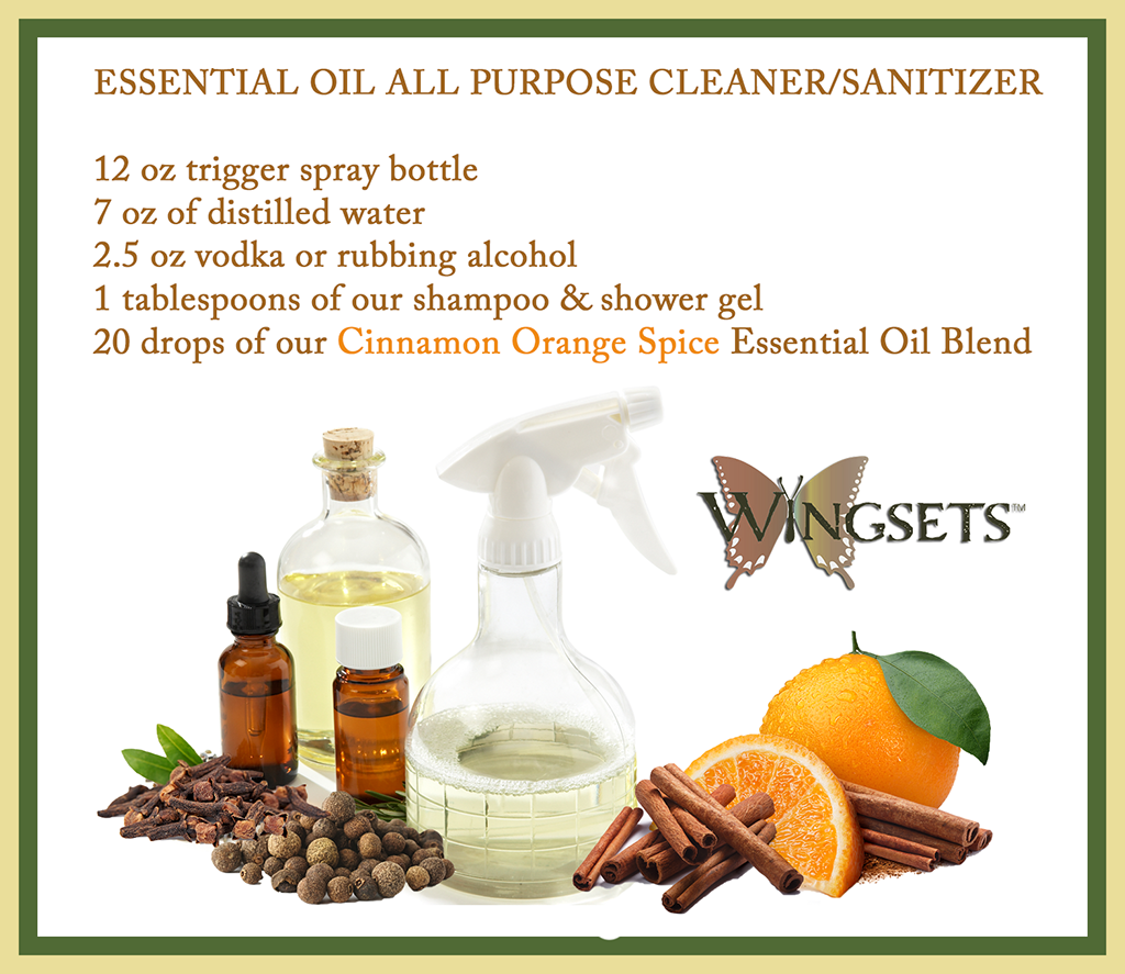 fall and winter cleaning recipe using cinnamon orange spice blend at Wingsets