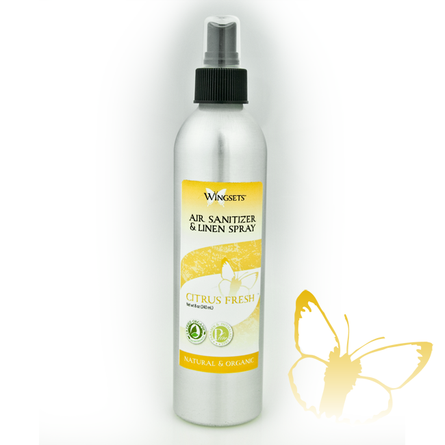 citrus blend of aromatherapy grade essential oils in a refreshing room spray