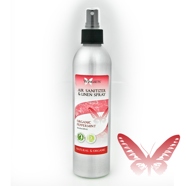 certified organic peppermint essential oil room and linen spray in recyclable bottle