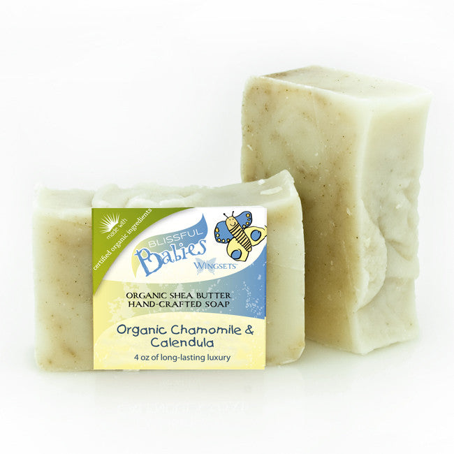 organic baby soap infused with certified organic calendula, chamomile and helichrysum flowers with certified organic oils and shea butter