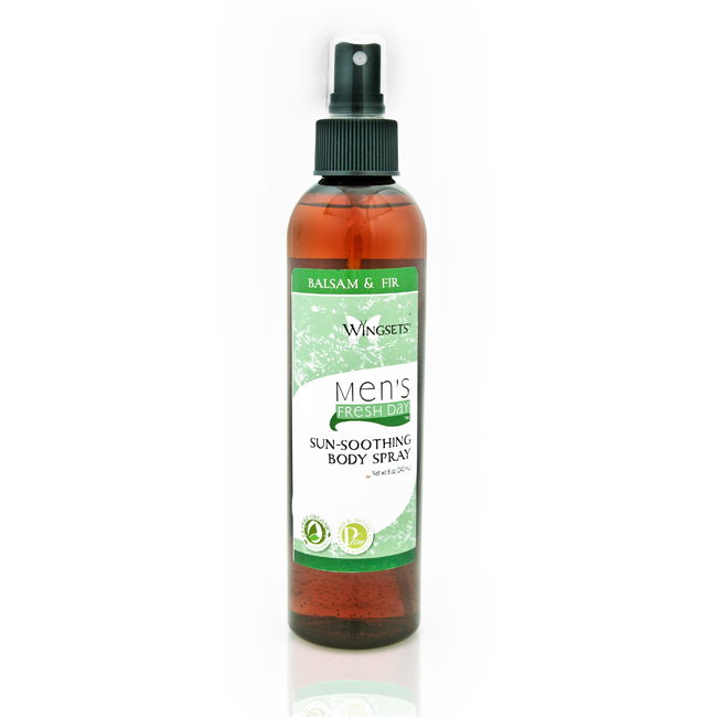 balsam fir and scotch pine essential oils in a refreshing aftersun body spray for men
