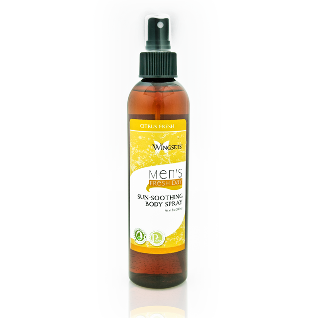 organic blend of citrus essential oils in a unique organic aloe vera sunsoothing body spray for men