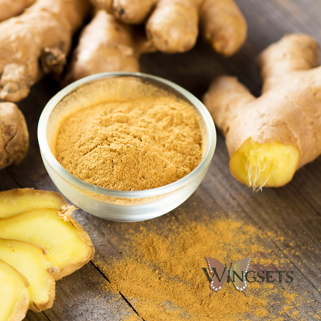 fresh ginger root essential oil and powder