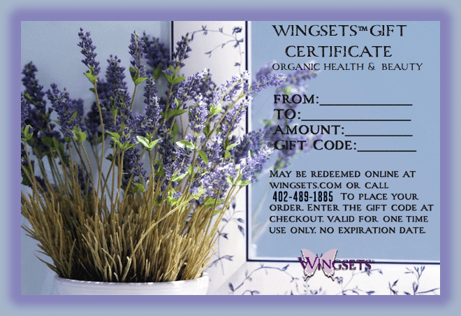 Wingsets gift certificate lavender graphic