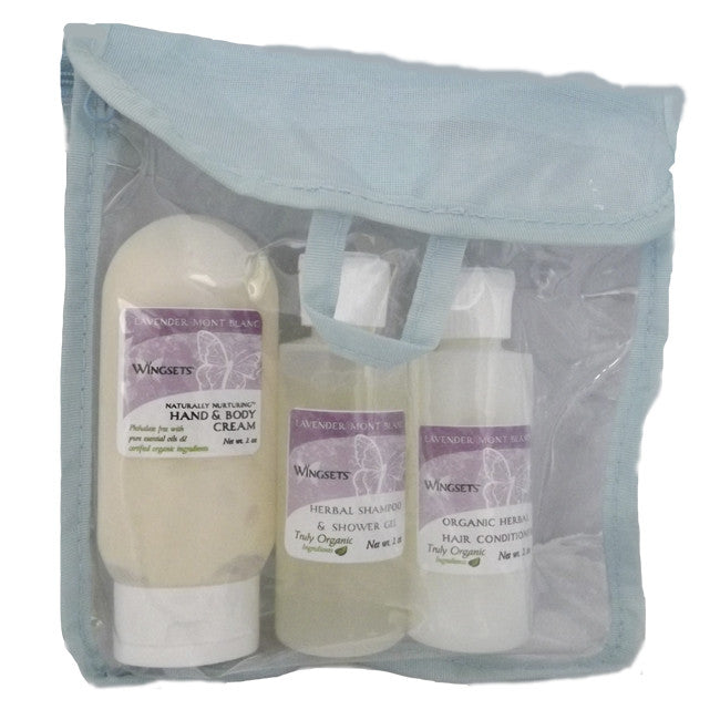 organic lavender aromatherapy travel pack shampoo, conditioner, cream