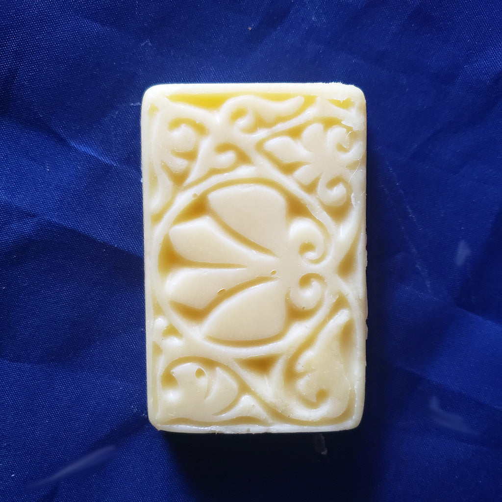 lotion bar rectangle made with certified organic ingredients, shea, mango, coconut oil, sweet almond oil, jojoba oil