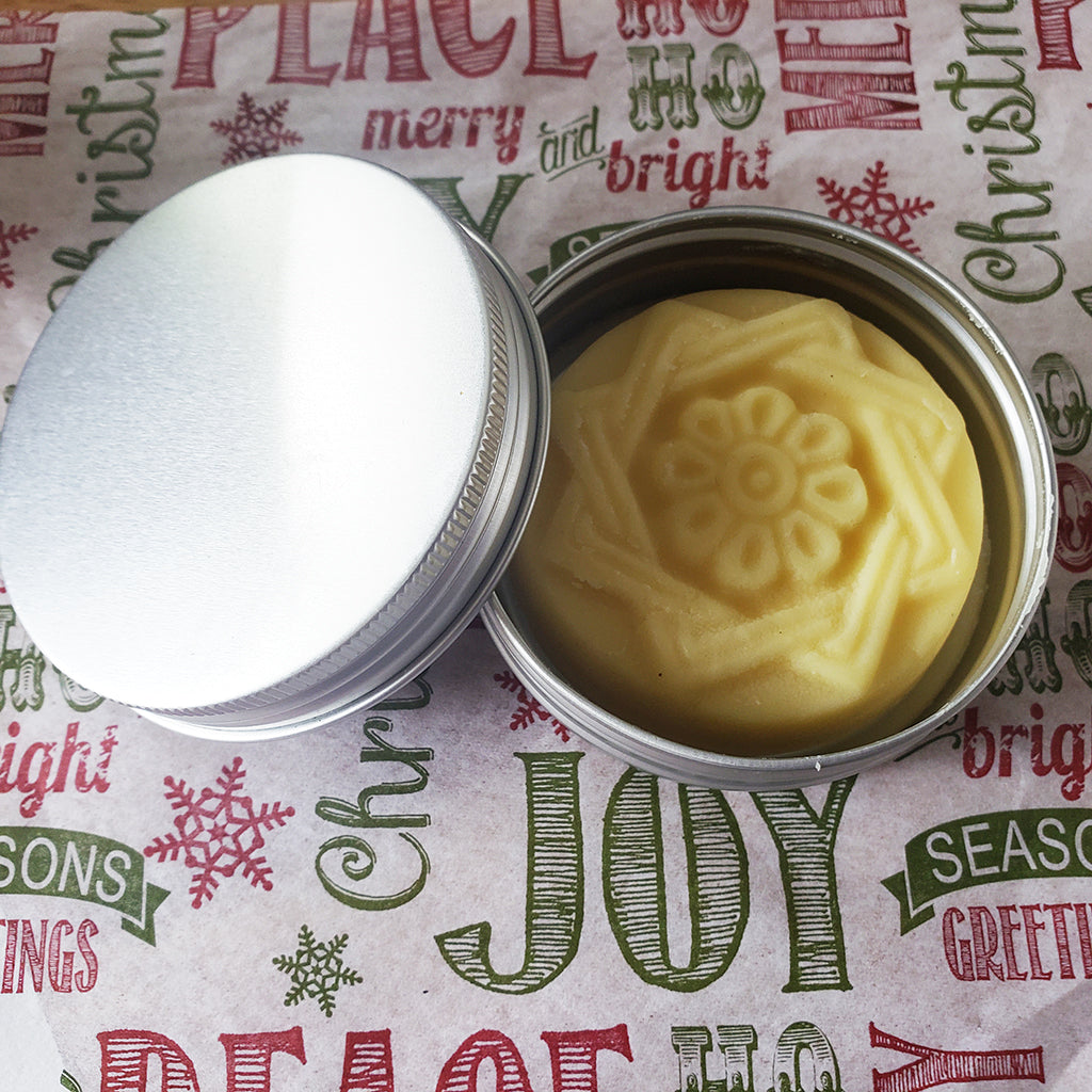 lotion bar woven star in tin made with certified organic shea, mango, coconut oil, sweet almond oil, jojoba oil