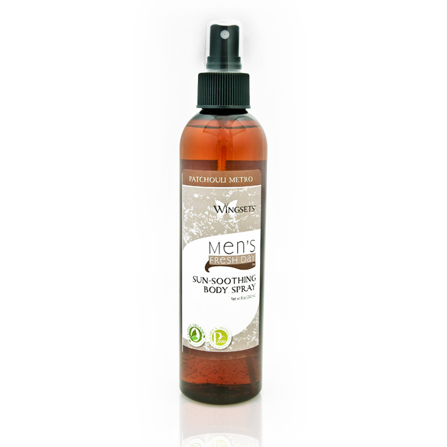 aromatherapy blend of aged patchouli, allspice and aphrodisiac ylang-ylang in an organic aloe vera sunsoothing spray