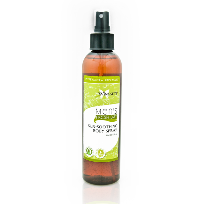 blend of brain enhancing essential oils of peppermint and rosemary in a sunsoothing organic body spray for men