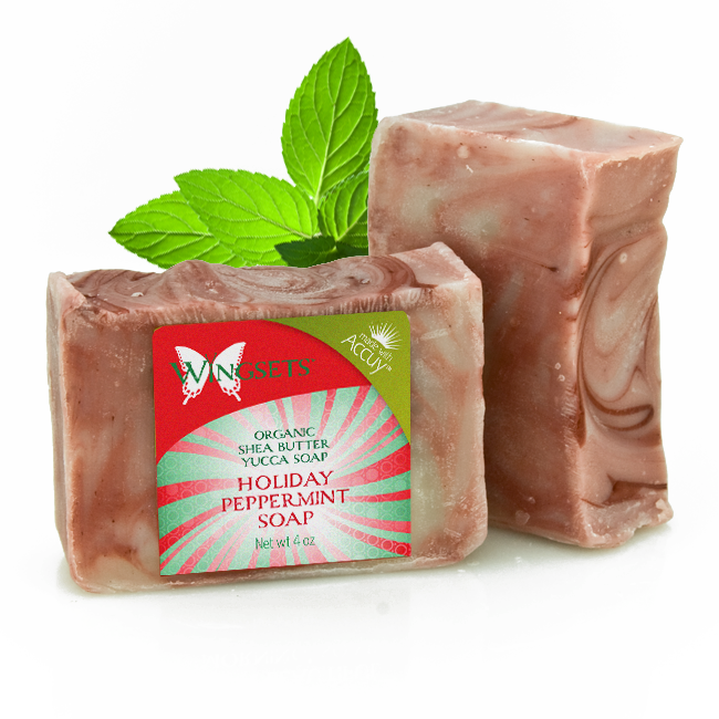 peppermint soap for the holidays with pure organic essential oils