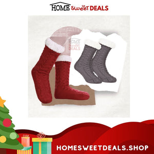 Fluffy Christmas Socks in Red and Gray Color
