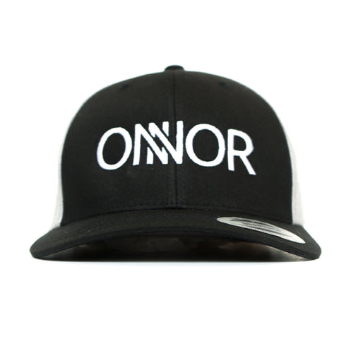 Black & White Snapback with White Embroidered ONNOR Logo
