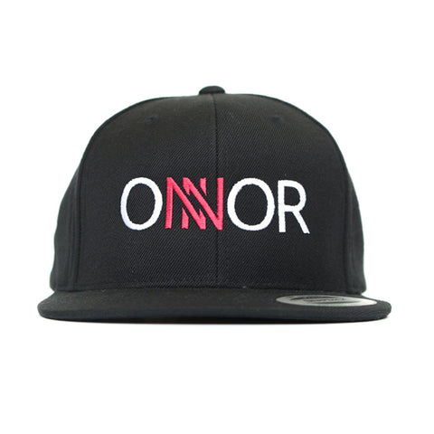 Black Snapback Cap, Red & White Embroidered ONNOR Logo