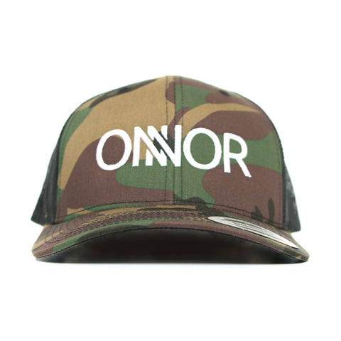 Camo Snapback Trucker Cap with White Embroidered ONNOR Logo