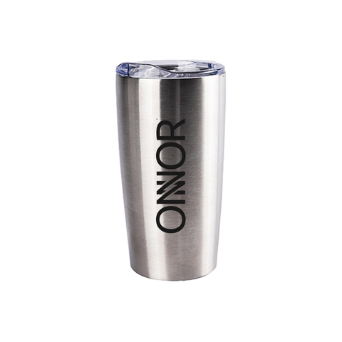 Stainless Steel Silver Reusable Insulated Travel Mug with Lid for Hot/Cold Drinks