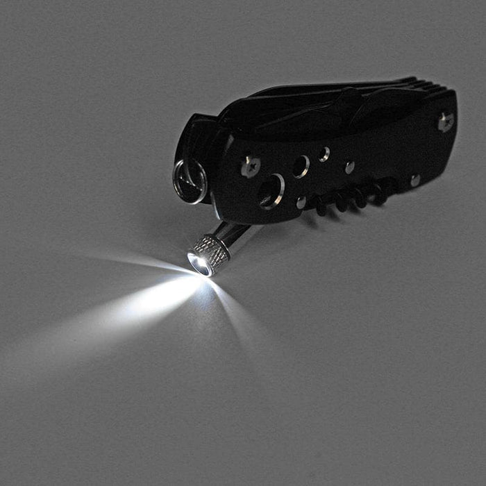 12 in 1 155mm LED Lights Stainless Steel Folding Swiss Knife Multifunction Survival Fishing Knife Tool