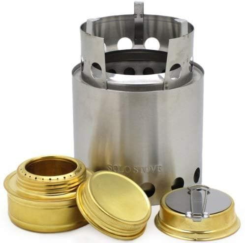 Solo Stove with Backup Alcohol Stove - Light Weight Wood Burning Backpacking & Camp Stove. Great Survival Camp Stove for Emergency Disaster Preparedness, Bug Out Bags, Preppers, Freeze Dried Food Storage.