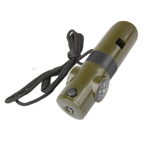 Camping Survival Whistle With Compass, Thermometer, Flashlight, Magnifier