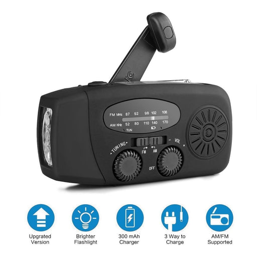 Solar Hand Crank Self Powered Emergency Radio with LED Flashlight AM/FM Radio Smart Phone Charger Power Bank (Black)