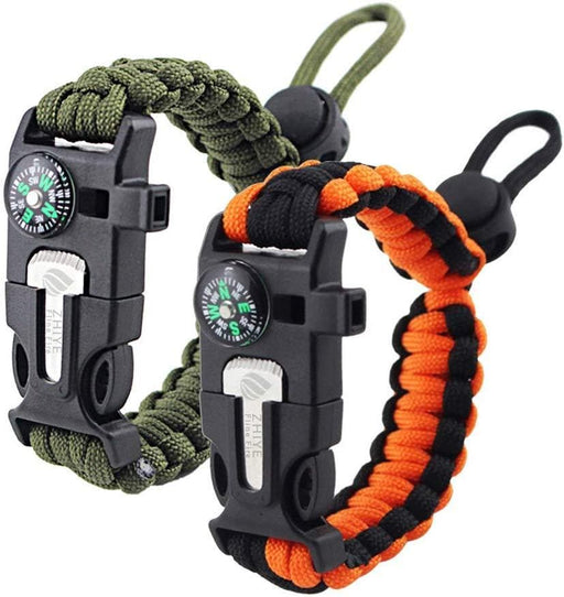 Zhiye Survival Paracord Bracelet Flint Fire Starter Scraper Compass Wilderness Survival Whistle Adjustable Wristband 2Pack Armygreen&BlackOrange