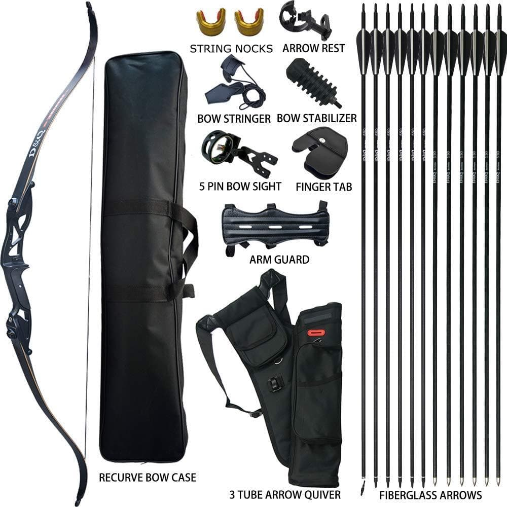 D&Q Takedown Recurve Bow and Arrow Set Adult Kit Archery Hunting Shooting Target Practice Competition Survival Longbow Package 30 35 40 45 50 lbs Right Handed with Bow Case Stringer Arrow Quiver