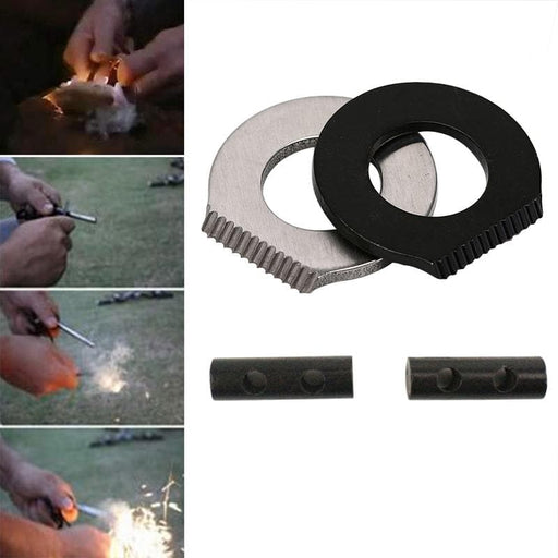 IPRee® 2Pcs/set EDC Double Holes Flintstone Scraper Fire Starter Ignitor Outdoor Survival Kits