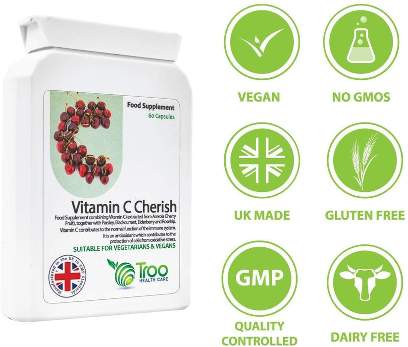Vitamin C Food Form 60 Capsules | Food State Vitamin C Supplement for Superior Absorption | Acerola Cherry | UK Manufactured | Quality Guaranteed