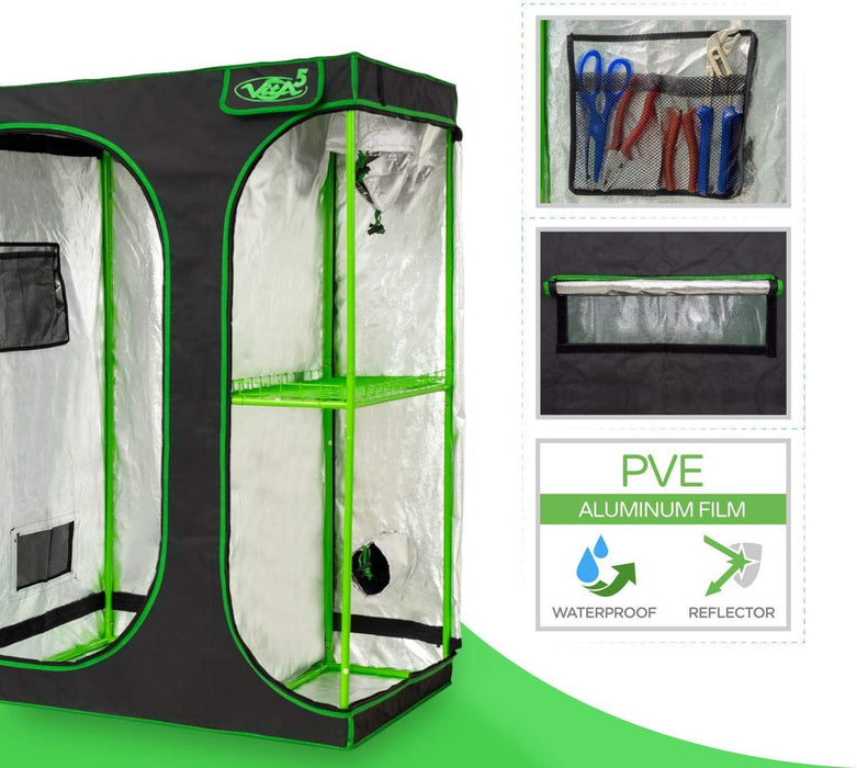 "VITA5 Grow Tent 2-in-1 | Growing Tent for Homegrowing | Lightproof and Tearproof Canvas| Waterproof Indoor Grow Tent | (90x60x135cm/ 35""x23""x53"" inch)"