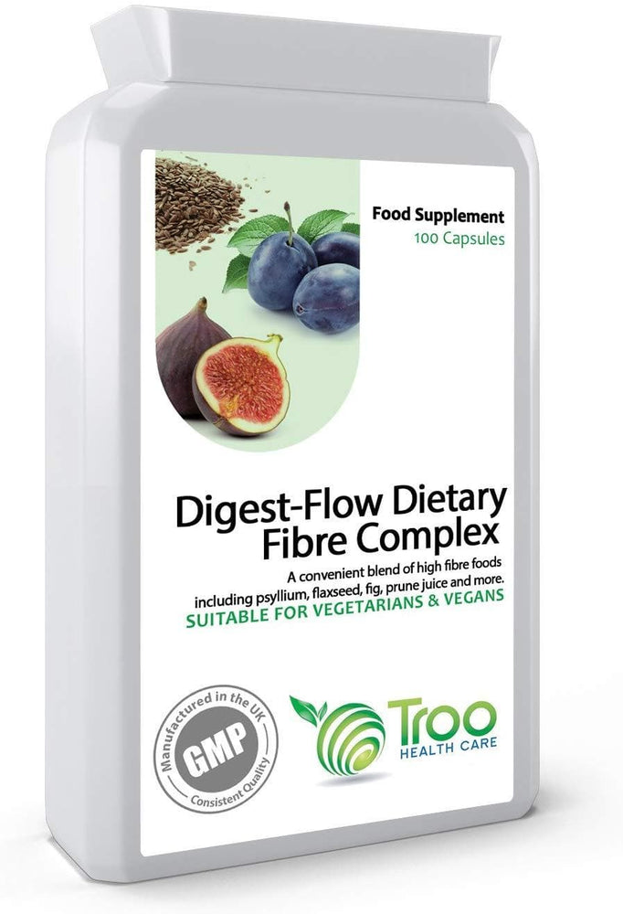 Digest-Flow Dietary Fibre Complex 100 Capsules | Soluble and Insoluble Fibre Blend | UK Manufactured to GMP Standards