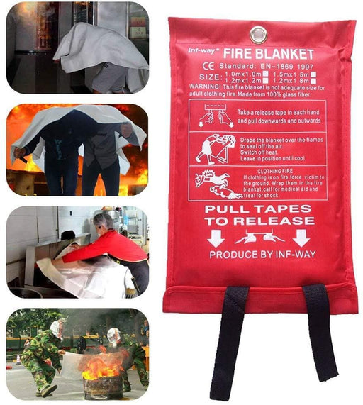 Astarye Fiberglass Fire Blanket Fire Emergency Blanket Emergency Surival Safety Cover For Outdoor barbecue, Kitchen,Fireplace,Car,Office(1.0X1.0M)
