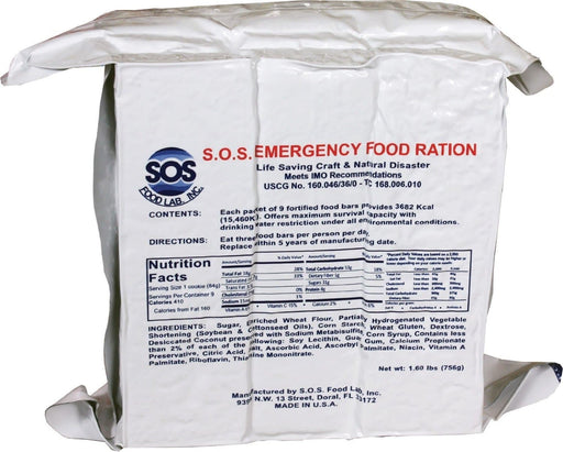 S.O.S. Rations Emergency 3600 Calorie Food Bar - 3 Day / 72 Hour Package with 5 Year Shelf Life 2 PK by SOS Food Labs, Inc.
