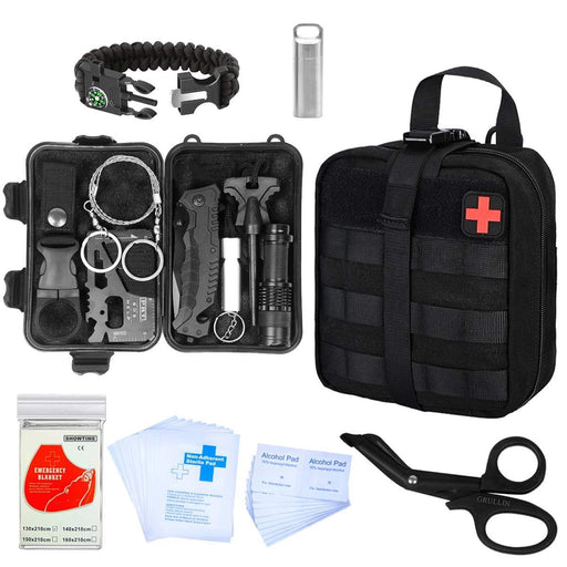 GRULLIN Survival Kit, 43 in 1 Emergency Blanket, Bracelet, Flashlight, Pill Box, EDC Card, Fire Starter, Wire Saw, MOLLE Pouch