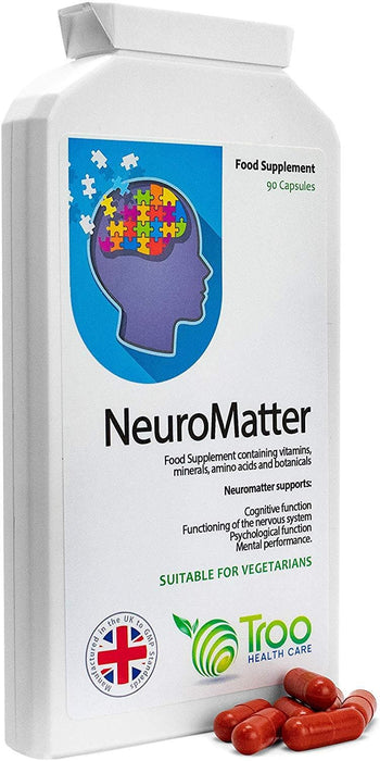 Troo NeuroMatter Brain Support Supplement - 90 Capsules | Includes Ginkgo Biloba, Choline Bitartrate, Betaine, L-Carnitine, Lecithin, Vitamins and Minerals | UK Manufactured