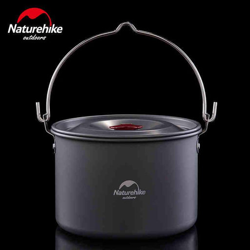 Naturehike 4-6 Persons Outdoor Camping Pots Alumina Durable Cookware Ultralight Cooking Picnic Camp Pot Kettle 4L big capacity