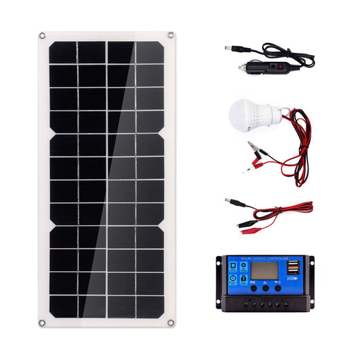 20W Monocrystalline Silicon Solar Panel System + 10A Solar Controller + Cables Set for  Roof/Camping/Tent/Backpacks