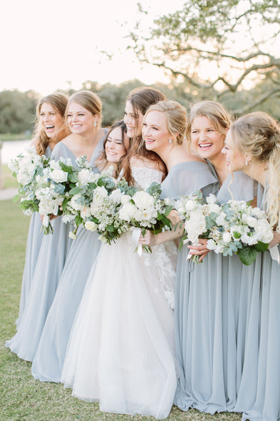 White and Dove Grey Bridesmaids Bouquets