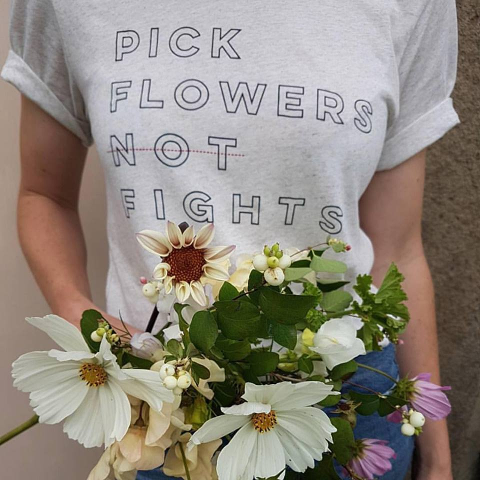 Pick Flowers Not Fights Oatmeal Shirt