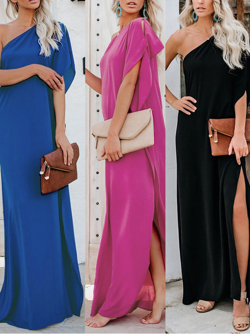 Solid One Shoulder Sexy Slit Maxi Dress