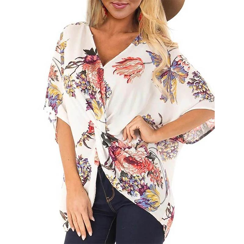 Floral V Neck Short Sleeve Twisted Fit Blouse - Popross