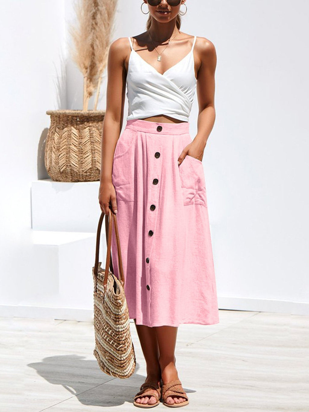 Solid Buttons High Waist Midi Skirt