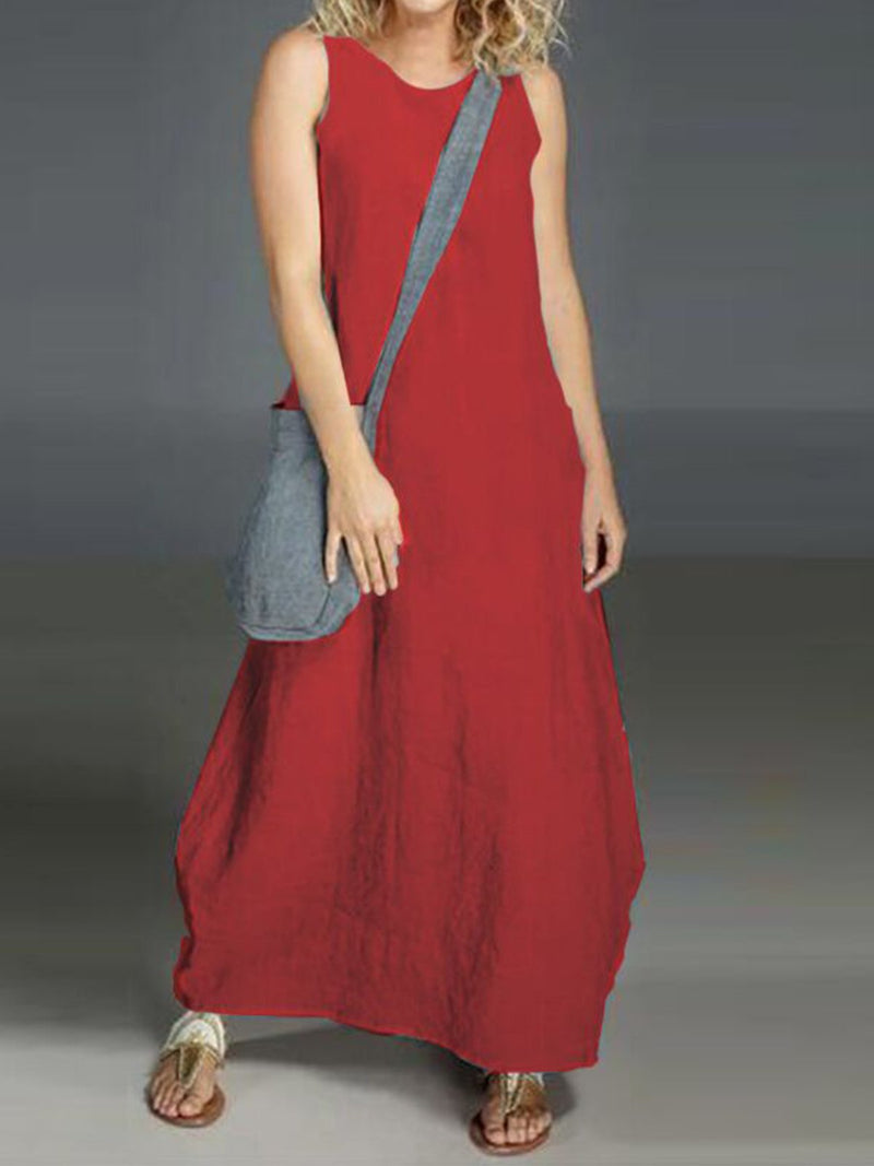 Solid Linen Crew Neck Sleeveless Plus Size Maxi Dress