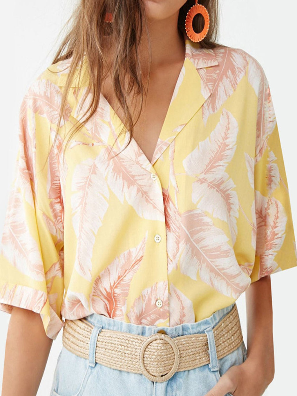 Feather Print V Neck Short Sleeve Plus Size Loose Blouse - Popross