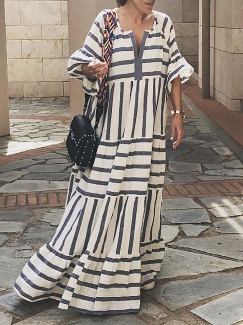 White Stripe Cotton V Neck 3/4 Sleeve Maxi Dress