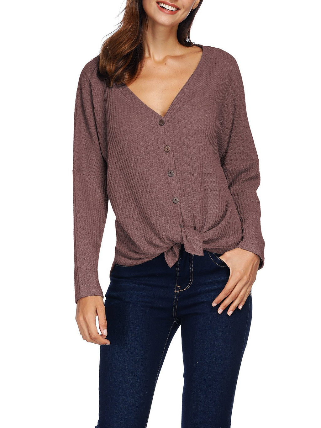 Knitted Irregular Solid Color Button Knotted Long Sleeve Blouse - Popross