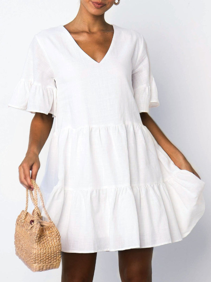 White Solid V Neck Short Sleeve Mini Dress